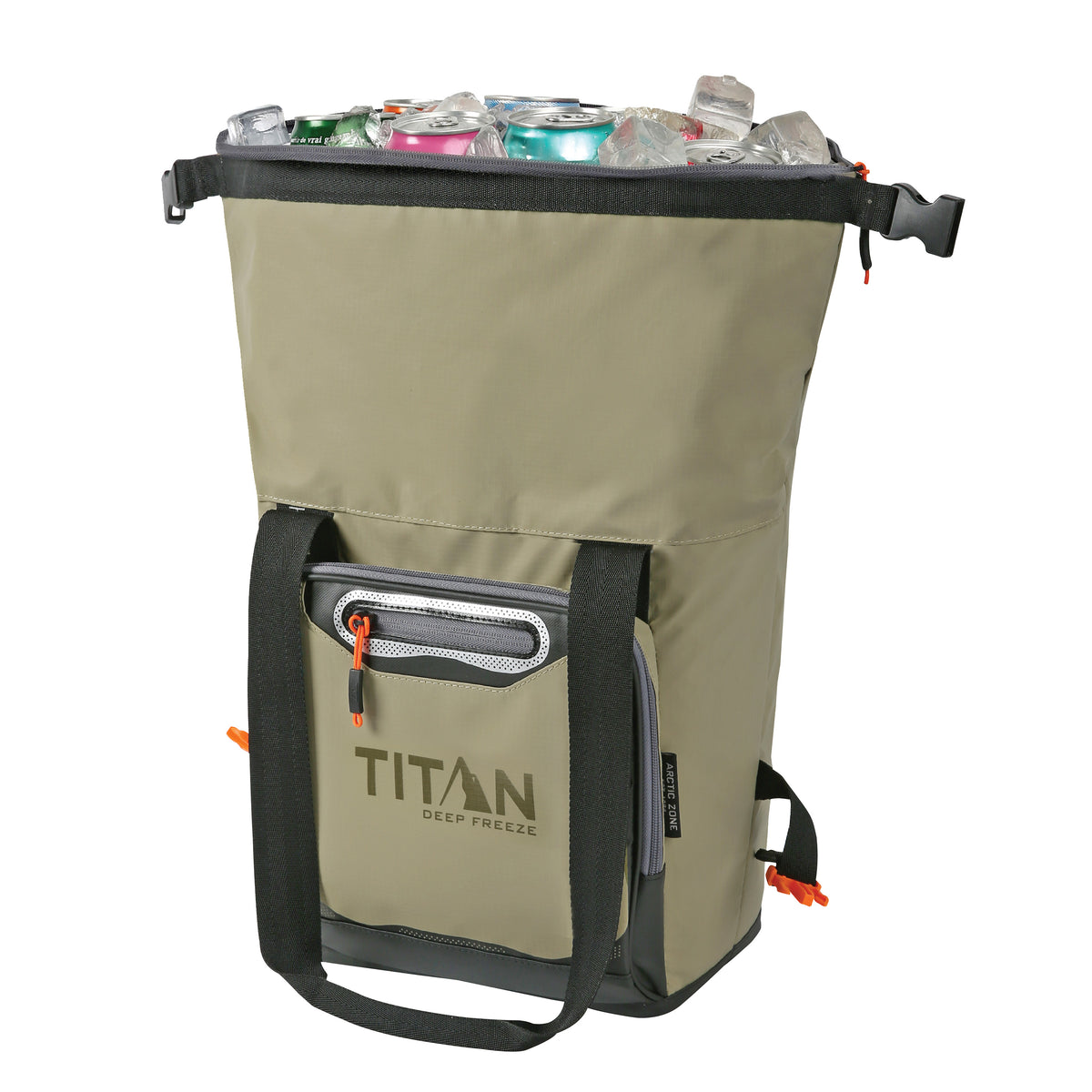 Titan Deep Freeze 12 Can Insulated Roll-Top Tote - Tan - Unrolled, propped