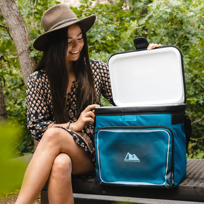 Arctic Zone® 40 Can Zipperless™ HardBody® Cooler - Blue - Lifestyle, unpacking for a picnic