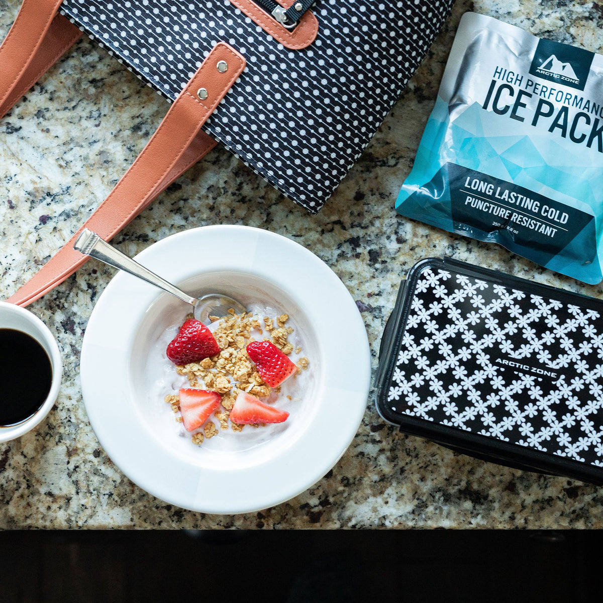 Arctic Zone® Bennet Tote - Dot Strike - Lifestyle, Having breakfast while fixing up lunch