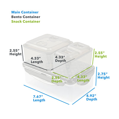 "Arctic Zone® Bennet Tote - Dot Strike - Main Container (L x D x H) 7.67"" x 4.92"" x 2.75"", Bento Container : (L x D x H) 4.33"" x 4.33"" x 2.55"", Snack Container: (L x D x H) 4.33"" x 2.55"" x 2.55"""