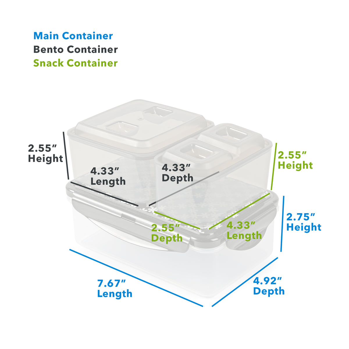 "Arctic Zone® Bennet Tote - Mixed Stripes - Main Container (L x D x H) 7.67"" x 4.92"" x 2.75"", Bento Container : (L x D x H) 4.33"" x 4.33"" x 2.55"", Snack Container: (L x D x H) 4.33"" x 2.55"" x 2.55"""