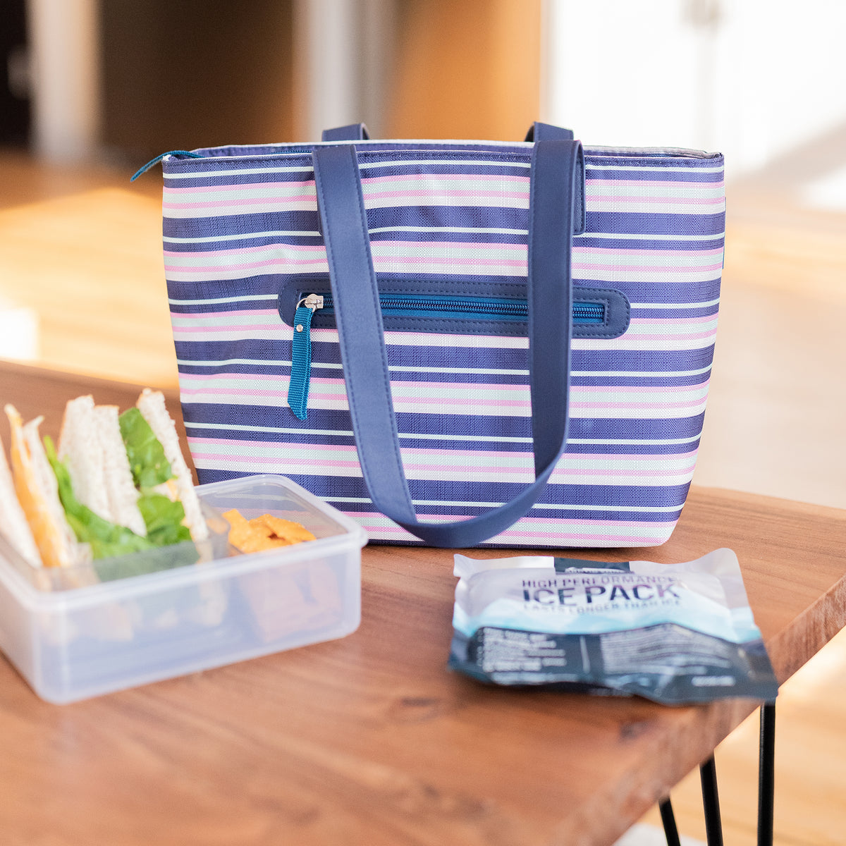 Arctic Zone® Bennet Tote - Mixed Stripes - Lifestyle, packing up lunch