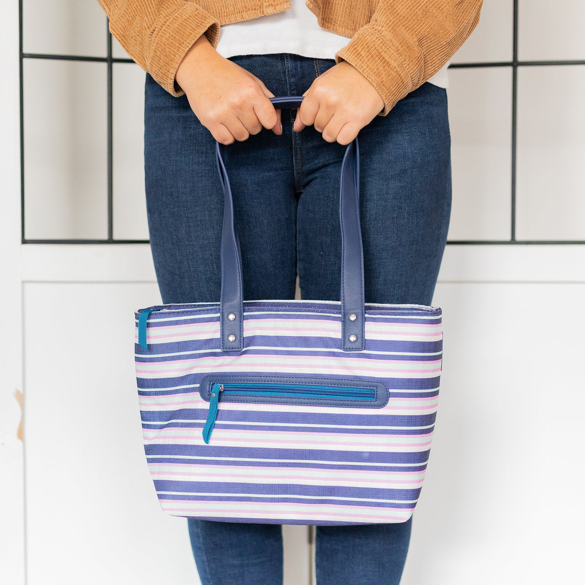 Arctic Zone® Bennet Tote - Mixed Stripes - Lifestyle, waiting with your lunch bag