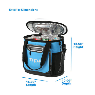 "Titan Deep Freeze® 24 Can Bucket Tote - Blue - Exterior dimensions: (L x D x H) 15.00"" x 10.00"" x 13.50"""