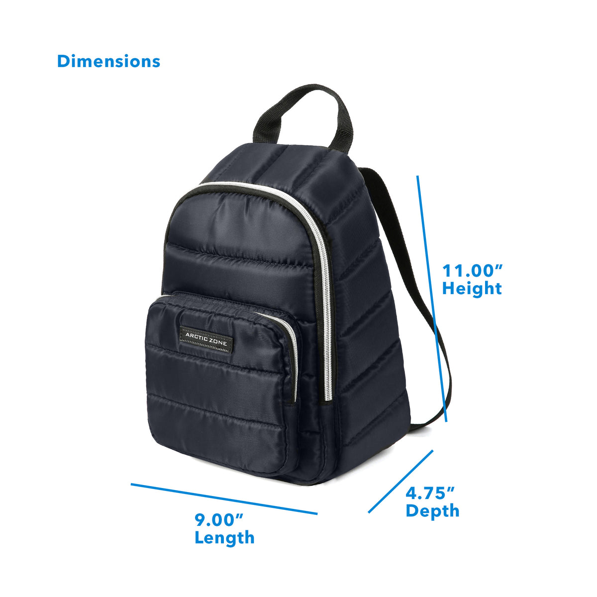"Arctic Zone® Quilted Cooler Backpack - Majolica Blue - Dimensions: (L x D x H) 9.00"" x 4.75"" x 11.00"""
