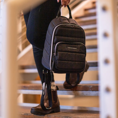 Arctic Zone® Quilted Cooler Backpack - Black - Lifestyle, waking down the stairs