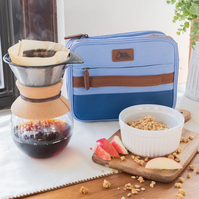 Arctic Zone® Canvas Expandable - Blue - Lifestyle, having breakfast before work