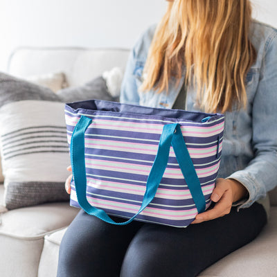 Arctic Zone® Commuter Tote - Mixed Stripes - Lifestyle, tote fully packed and ready to go
