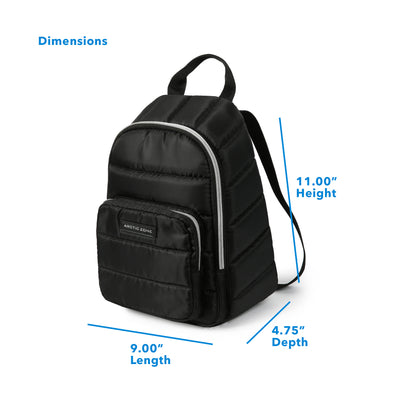 "Arctic Zone® Quilted Cooler Backpack - Black - Dimensions: (L x D x H) 9.00"" x 4.75"" x 11.00"""