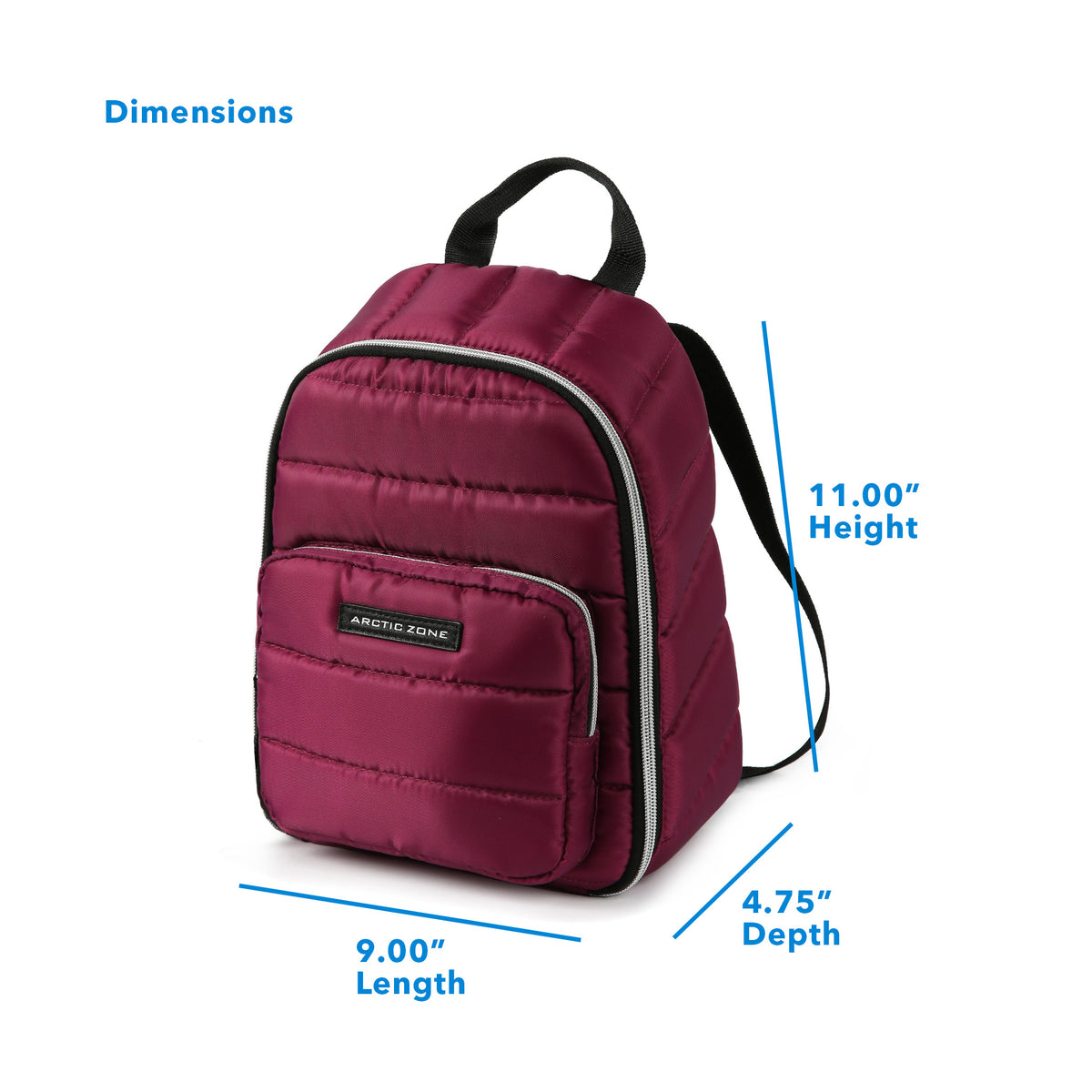 "Arctic Zone® Quilted Cooler Backpack - Red Violet - Dimensions: (L x D x H) 9.00"" x 4.75"" x 11.00"""