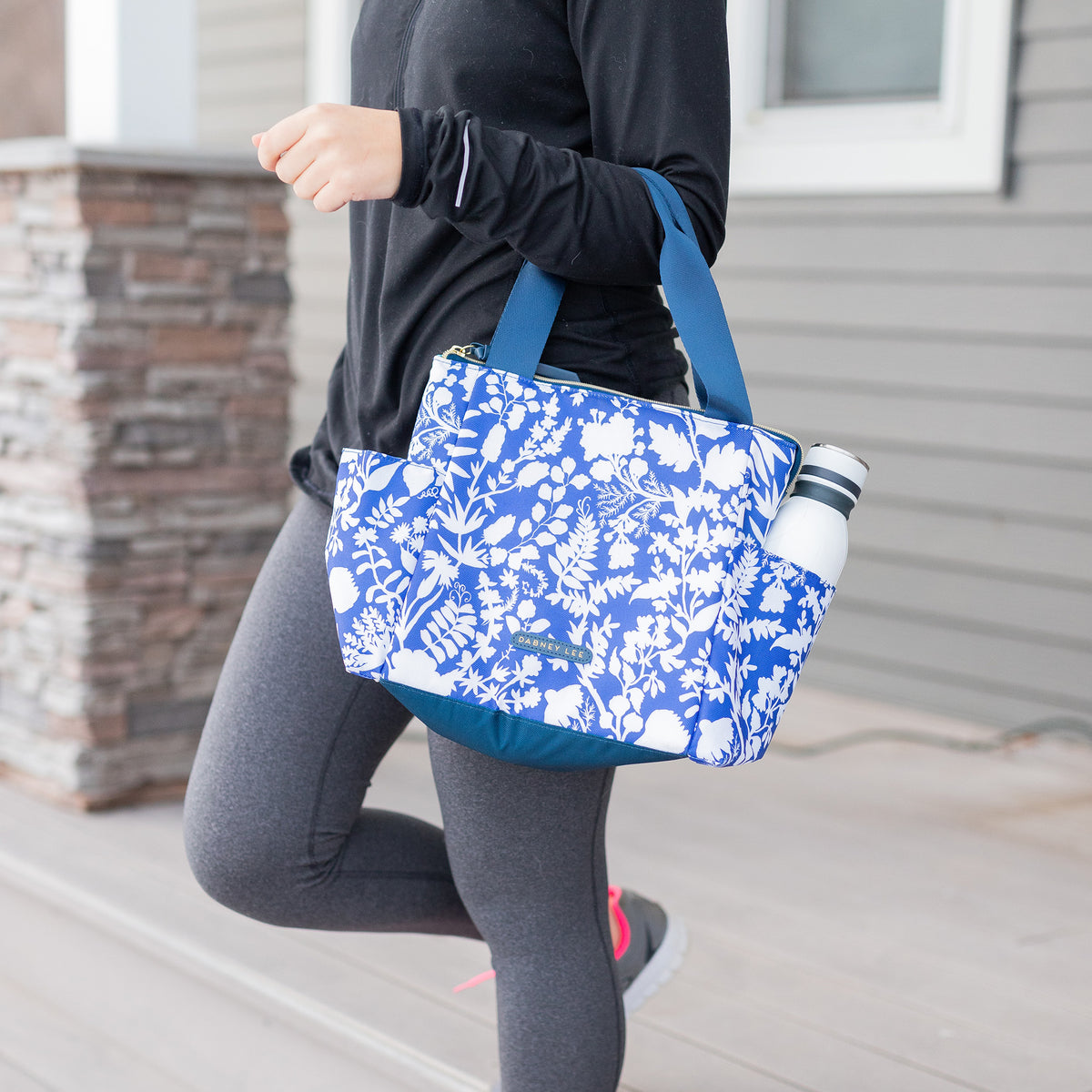 Arctic Zone® Dabney Lee Karina Tote - Summer Fling - Lifestyle, carrying the bag, walking out of the house