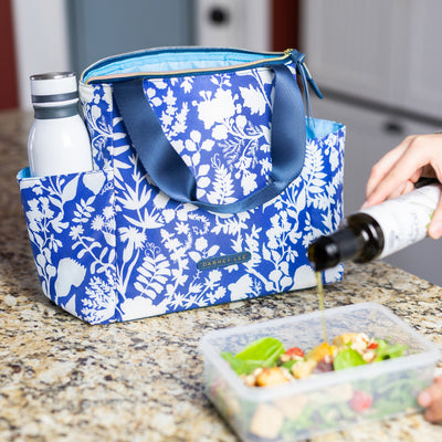 Arctic Zone® Dabney Lee Karina Tote - Summer Fling - Lifestyle, having a salad for lunch at work