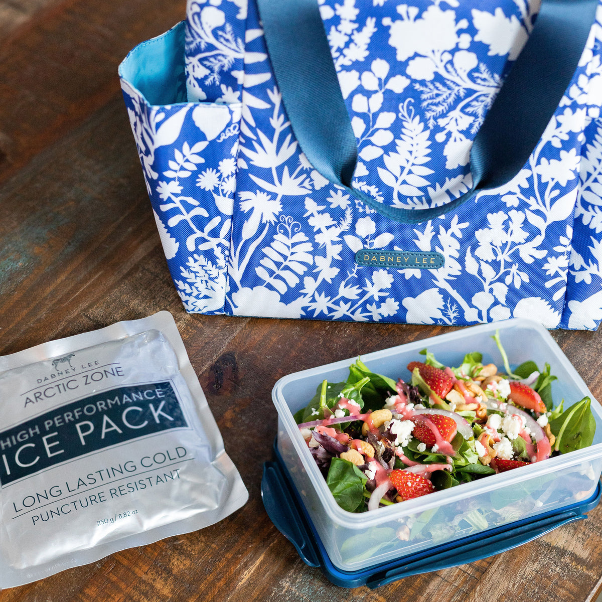Arctic Zone® Dabney Lee Karina Tote - Summer Fling - Lifestyle, Salad on the counter with ice pack and bag