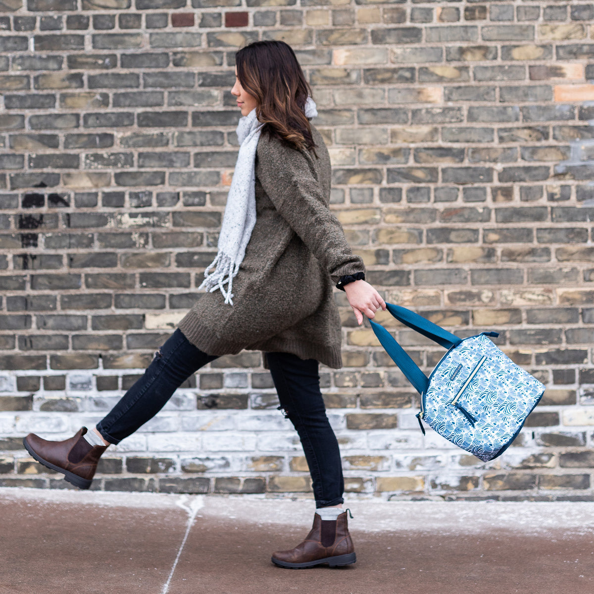 Arctic Zone® Dabney Lee Soft Tote - Bruno - Lifestyle, swinging the bag while waling to work