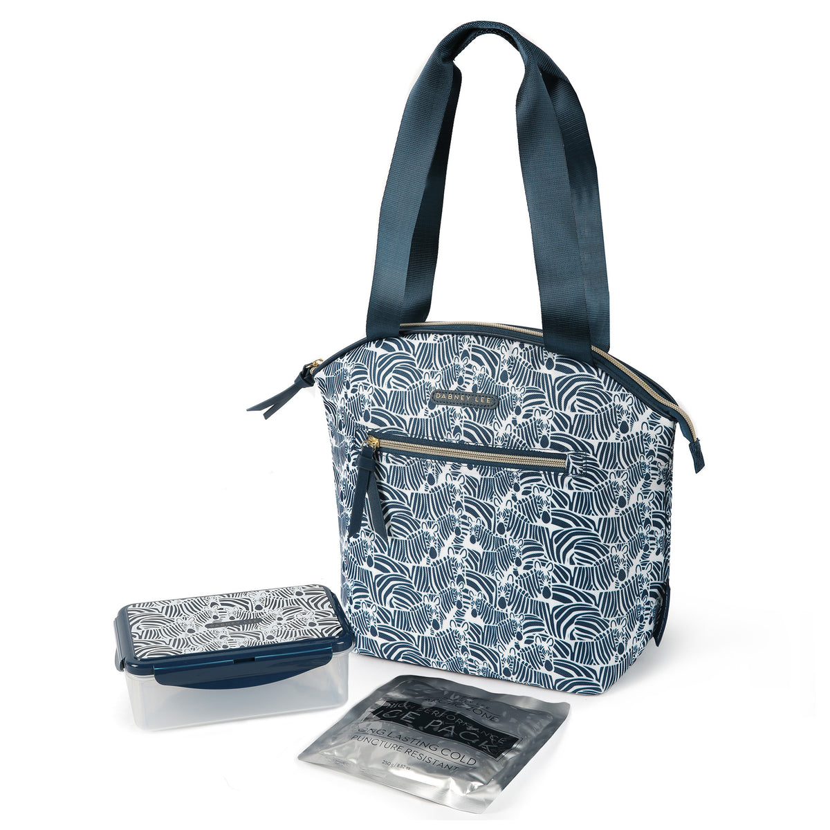 Arctic Zone® Dabney Lee Soft Tote - Bruno - Closed, with container and ice pack