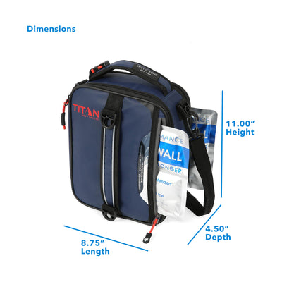 "Titan Deep Freeze® Expandable Lunch Box - Navy - Dimensions: (L x D x H) 8.75"" x 4.50"" x 11.00"""