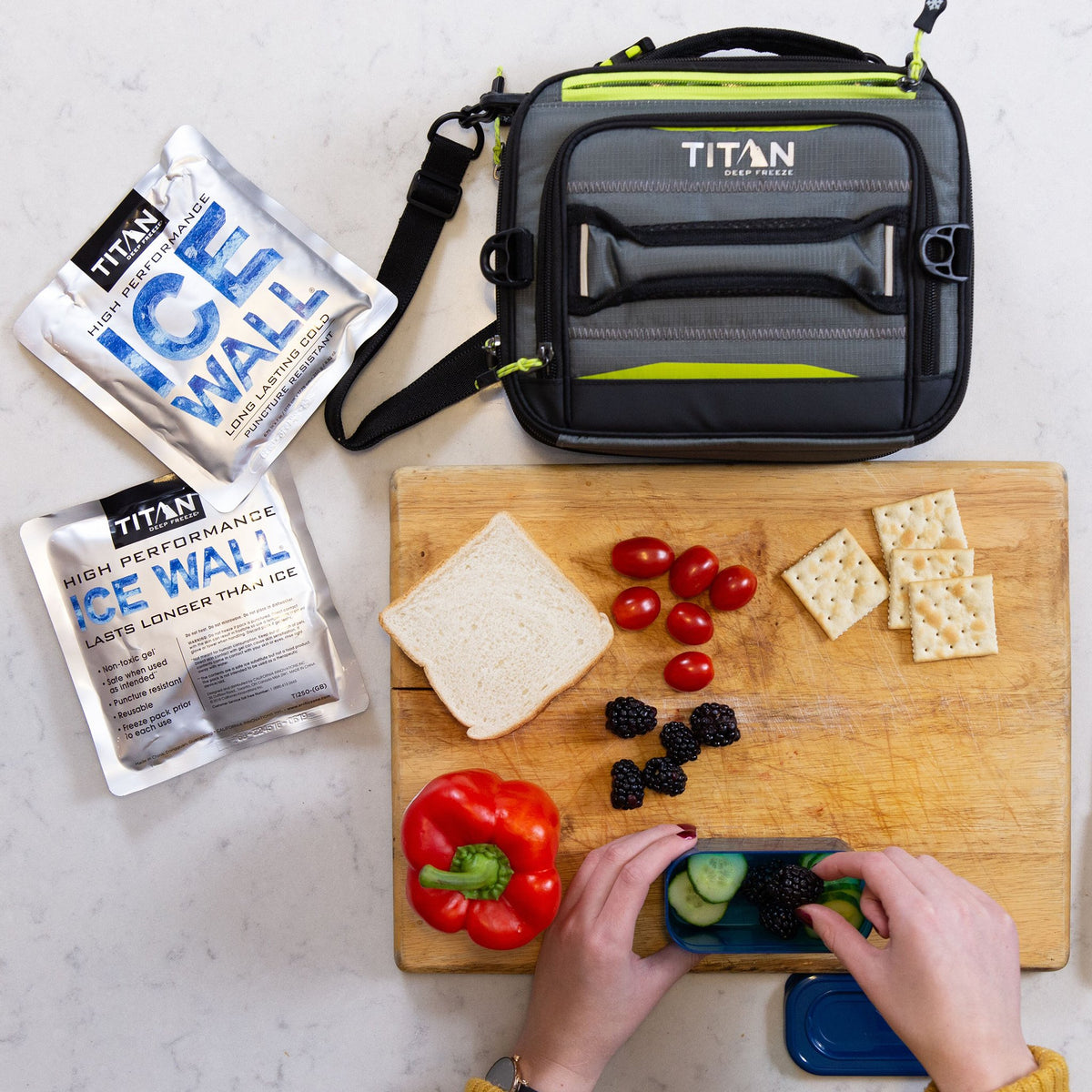 Titan Deep Freeze® High Performance Expandable Horizontal Lunch Pack - Grey - Lifestyle, meal prepping at home