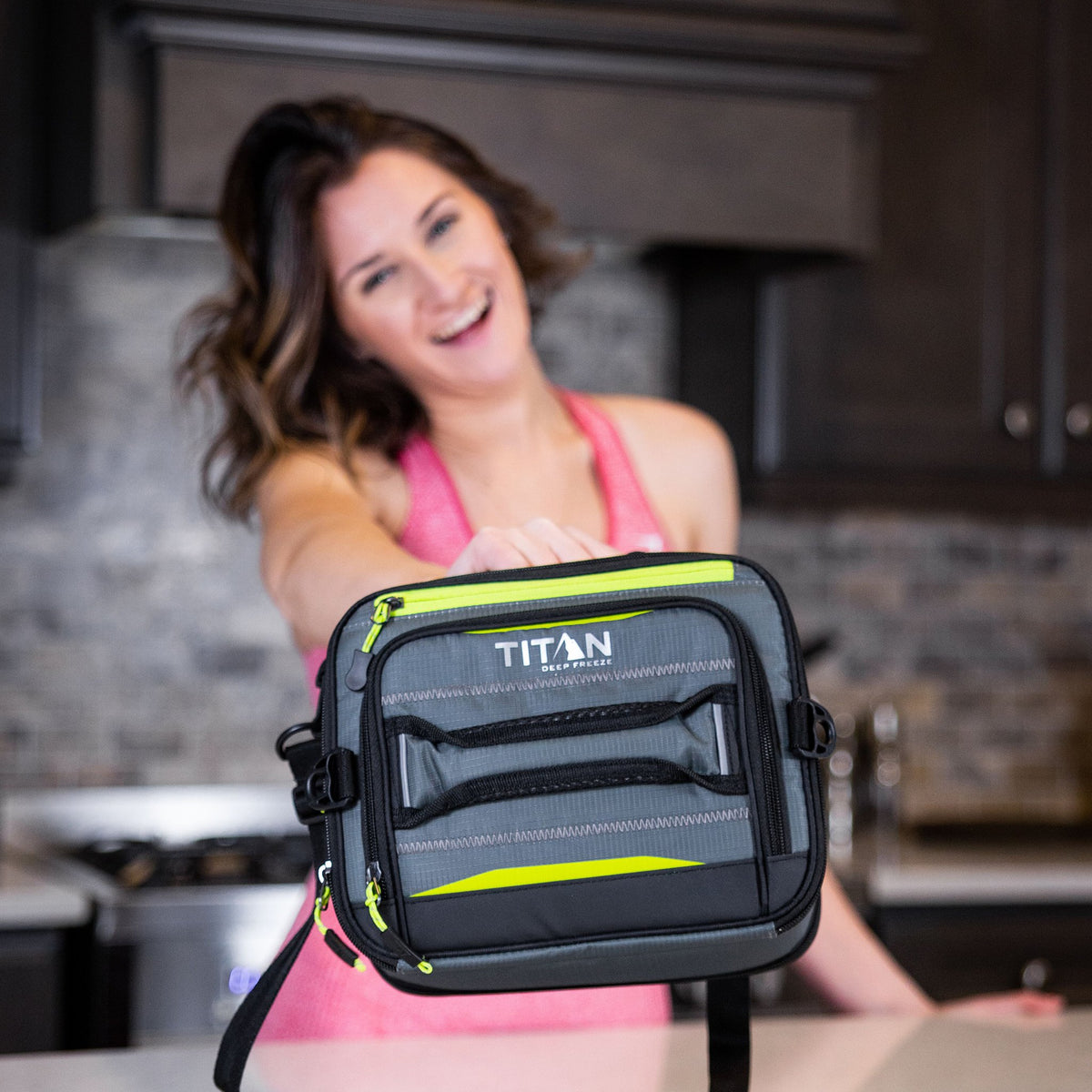 Titan Deep Freeze® High Performance Expandable Horizontal Lunch Pack - Grey - Lifestyle, showing off your cool lunchbag