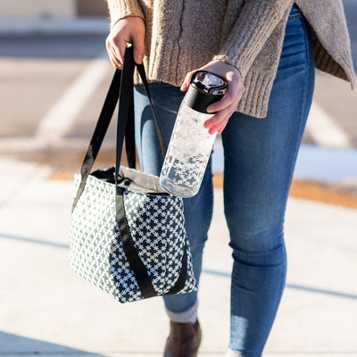 Arctic Zone® Commuter Tote - Delicate Daisies - Lifestyle, Grabbing a drink on the go