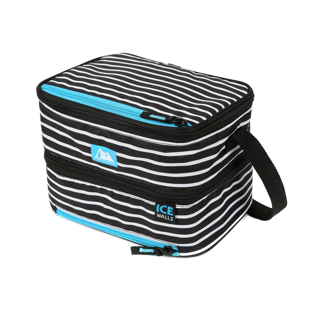 Dual Compartment Lunch Bag with 3 Ice Walls®Arctic Zone® Ice Walls® Dual Compartment Lunch Pack - Classic Stripes - Front, closed