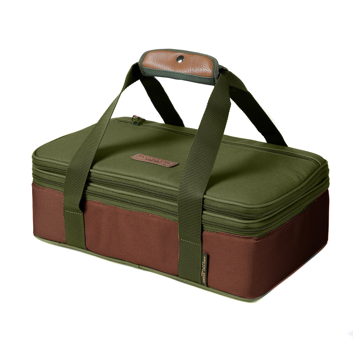 Arctic Zone® Food Pro Expandable Thermal Carrier - Green - Front, collapsed, closed