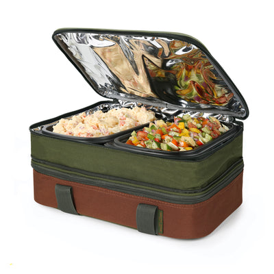 Arctic Zone® Food Pro Expandable Thermal Carrier - Green - Top propped