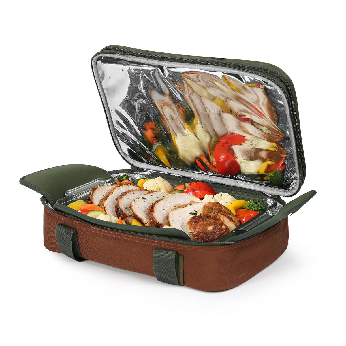 Arctic Zone® Food Pro Expandable Thermal Carrier - Green - Bottom propped