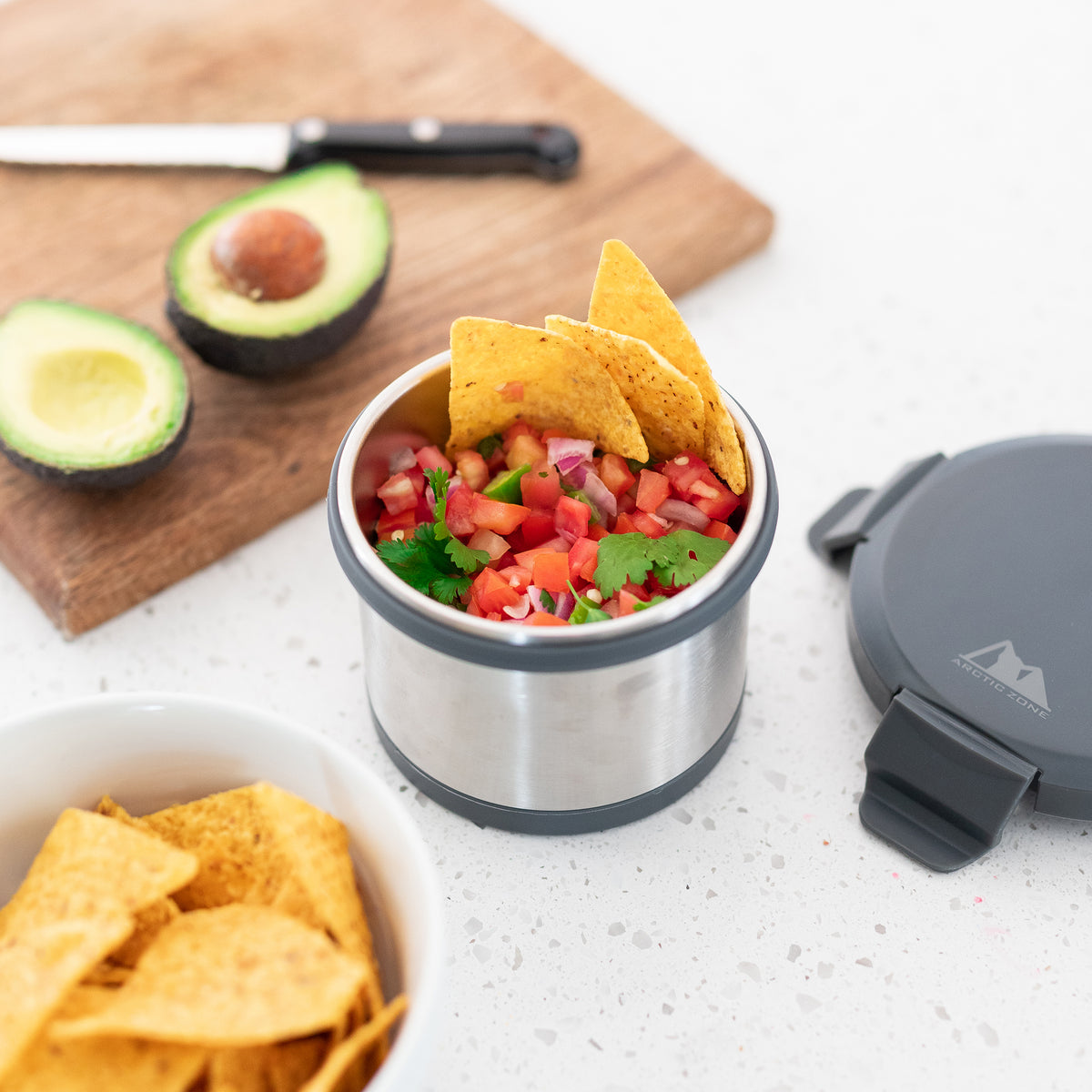 Leak Proof 16oz Thermal Bowl With Safe & Easy 4 Lock Lid - Grey - Lifestyle, prepping salsa for nachos