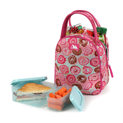 Neoprene Hannah Tote with 210gm Ice pack & 4 piece Kids Sandwich Set - Propped with food and snacks