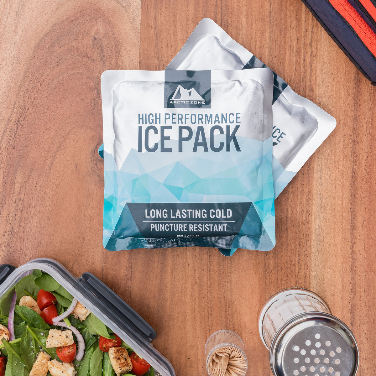Arctic Zone® Set of 2 High Performance Ice Packs - Lifestyle, packing up a salad