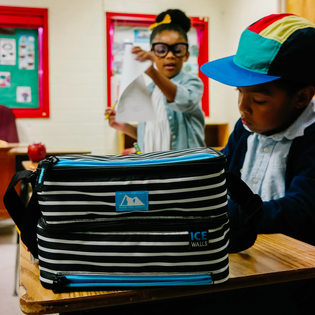 Arctic Zone® Ice Walls® Dual Compartment Lunch Pack - Classic Stripes - Lifestyle, in the classroom