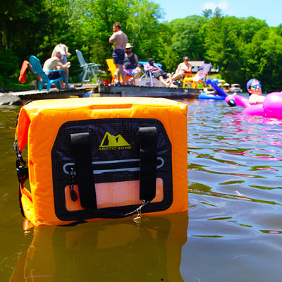 Arctic Zone® 30 Can Self-Inflating Cooler - Cooler floating on water