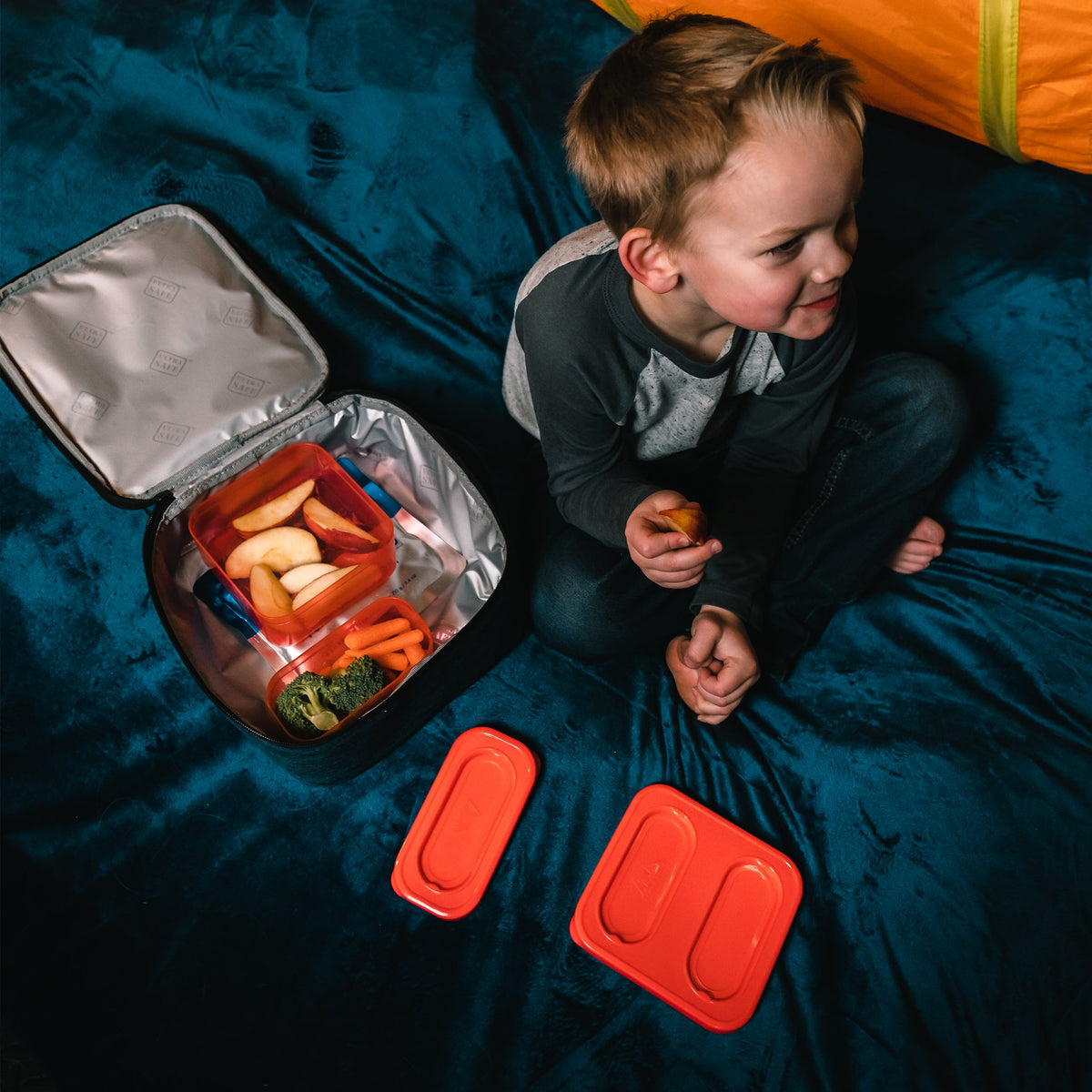 Arctic Zone® Classics Lunch Box - Blue - Lifestyle, Little boy having lunch on a blanket