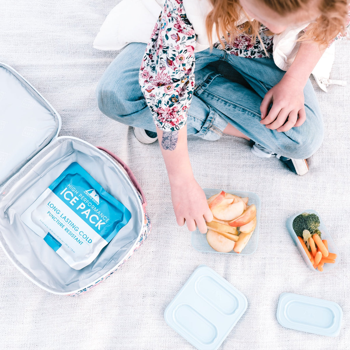 Arctic Zone® Classics Lunch Box - Floral - Lifestyle, Little girl snack time