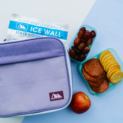 Arctic Zone® Classics Lunch Box - Purple - Lifestyle, Lunch bag on table with snacks and icepack