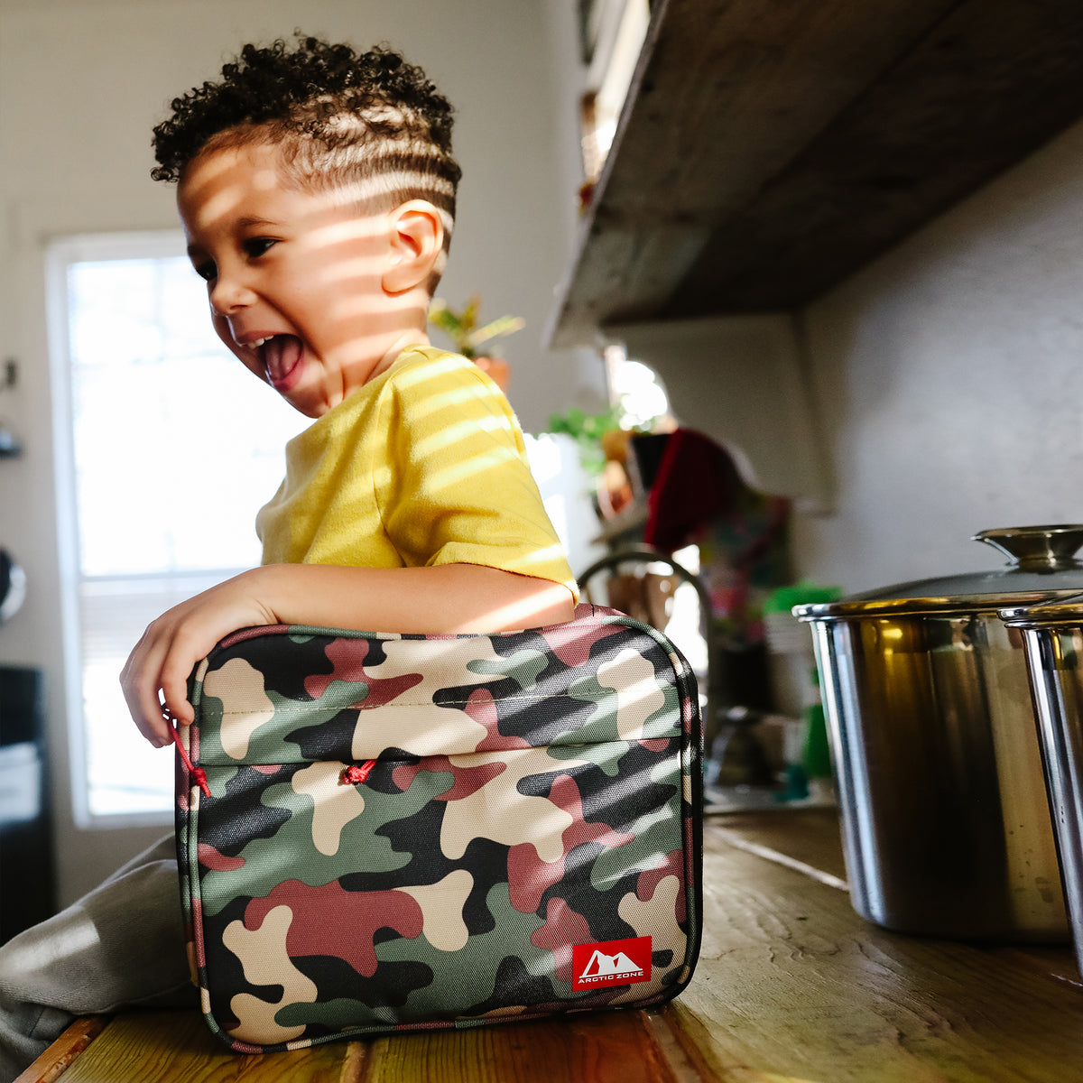 Arctic Zone® Classics Lunch Box - Camo - Lifestyle, Son helping mom with lunch