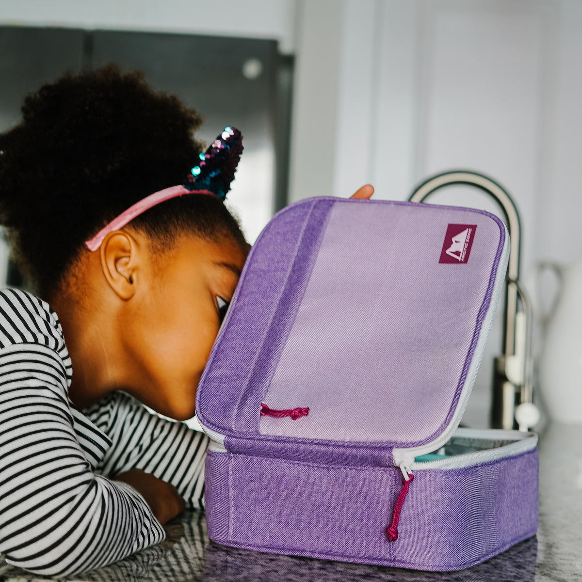 Arctic Zone® Classics Lunch Box - Purple - Lifestyle, Peeking at lunch