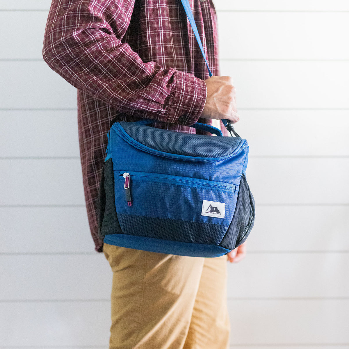 High Performance Meal Prep Day Pack - Blue - Lifestyle, walking to work