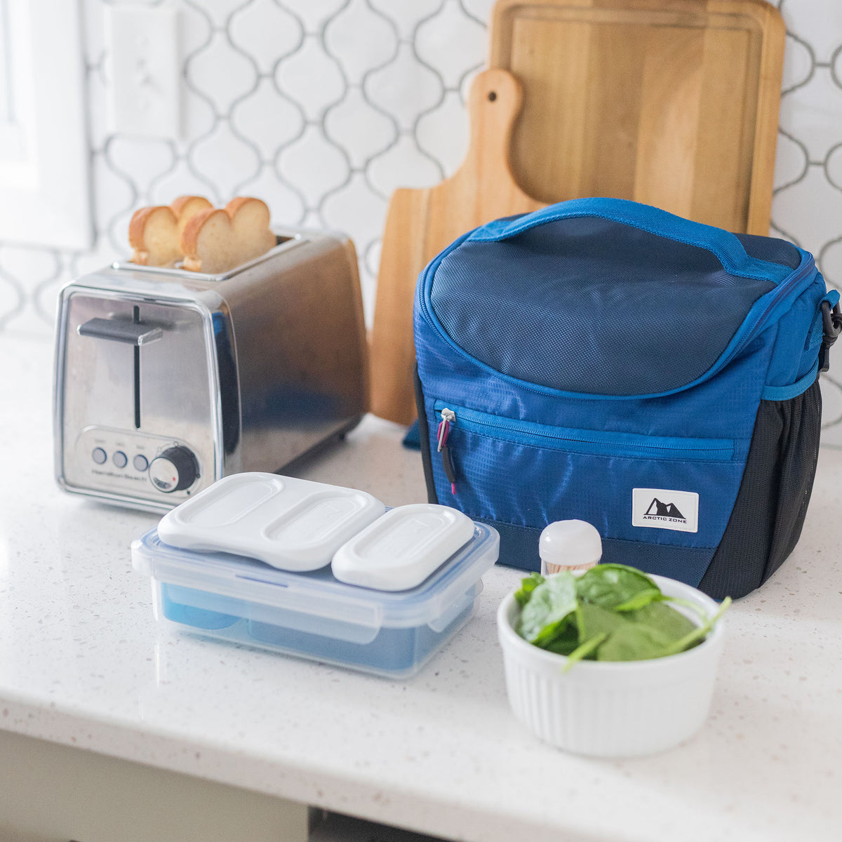 High Performance Meal Prep Day Pack - Blue - Lifestyle, having breakfast before heading to work
