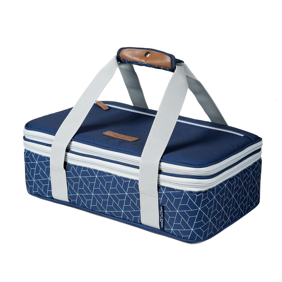 Arctic Zone® Food Pro Expandable Thermal Carrier - Navy - Front, collapsed, closed
