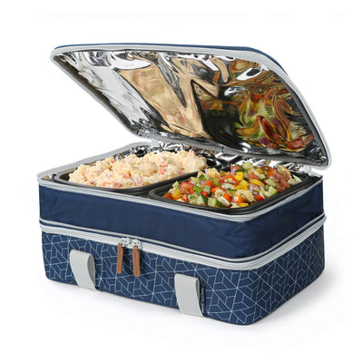 Arctic Zone® Food Pro Expandable Thermal Carrier - Navy - Top propped