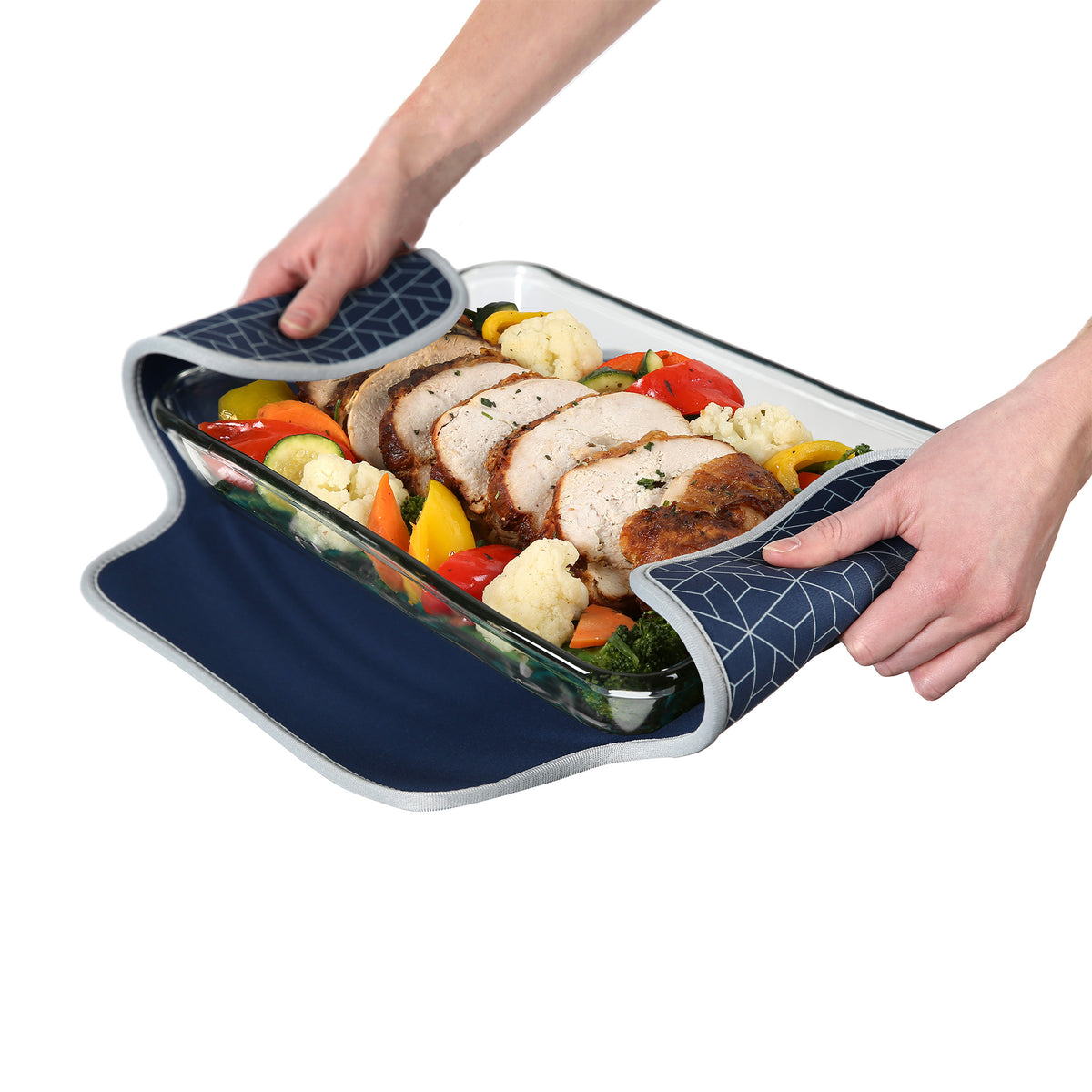 Arctic Zone® Food Pro Expandable Thermal Carrier - Navy - Trivet propped