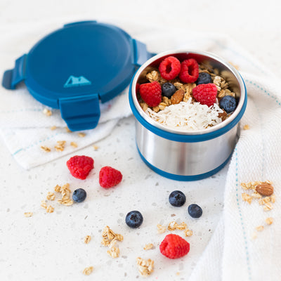 Leak Proof 16oz Thermal Bowl With Safe & Easy 4 Lock Lid - Navy - Lifestyle, yogurt with granola and raspberries