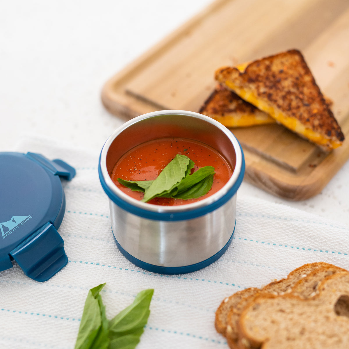 Leak Proof 16oz Thermal Bowl With Safe & Easy 4 Lock Lid - Navy - Lifestyle, Grilled cheese and tomato soup