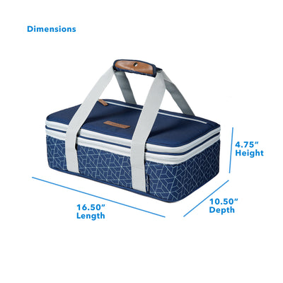 "Arctic Zone® Food Pro Expandable Thermal Carrier - Navy - Dimensions: (L x D x H) 16.50"" x 10.50"" x 4.75"""