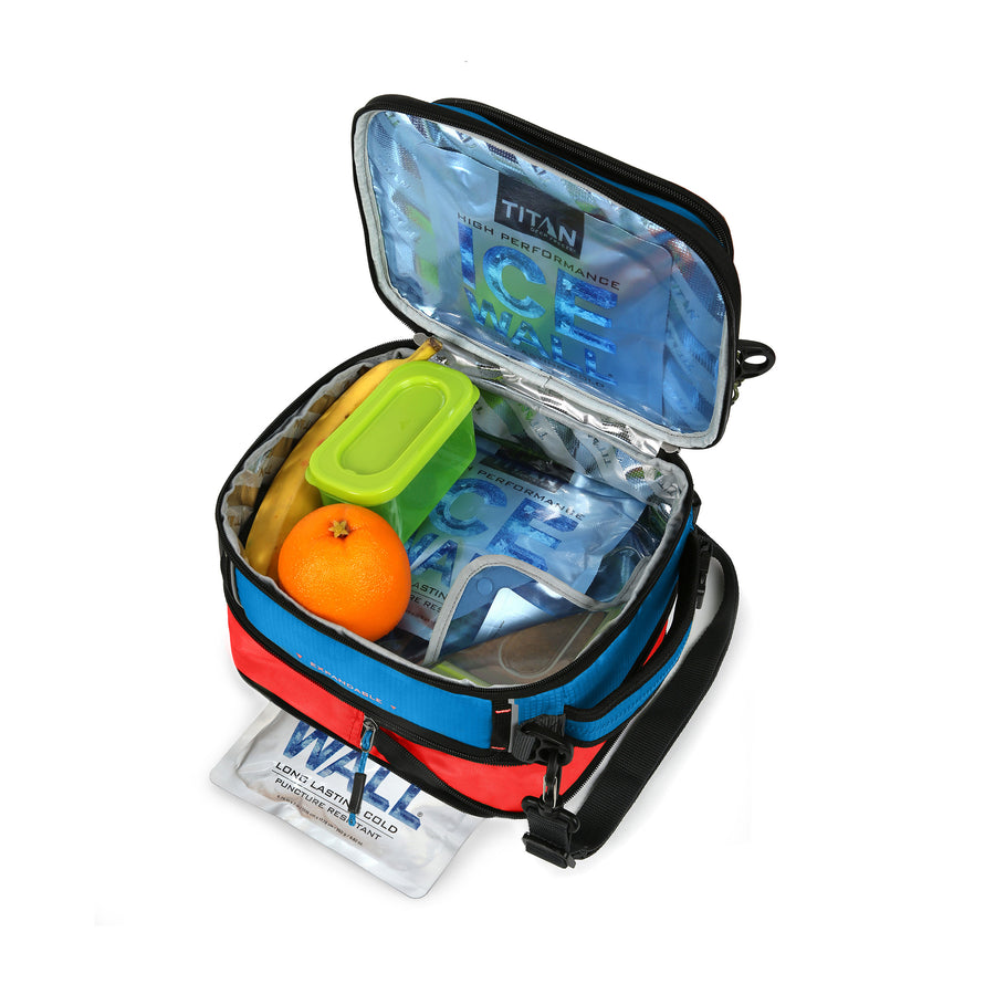 Titan X Dual Compartment Expandable Lunch Pack with 3 Ice Walls® - proped