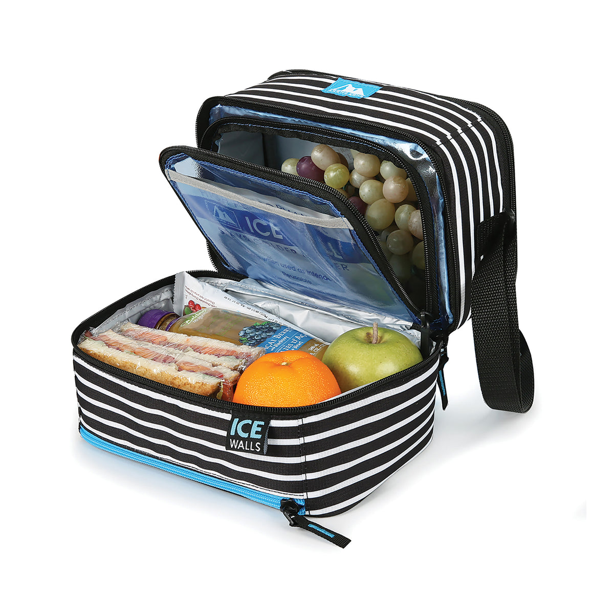 Arctic Zone® Ice Walls® Dual Compartment Lunch Pack - Classic Stripes - Open, propped