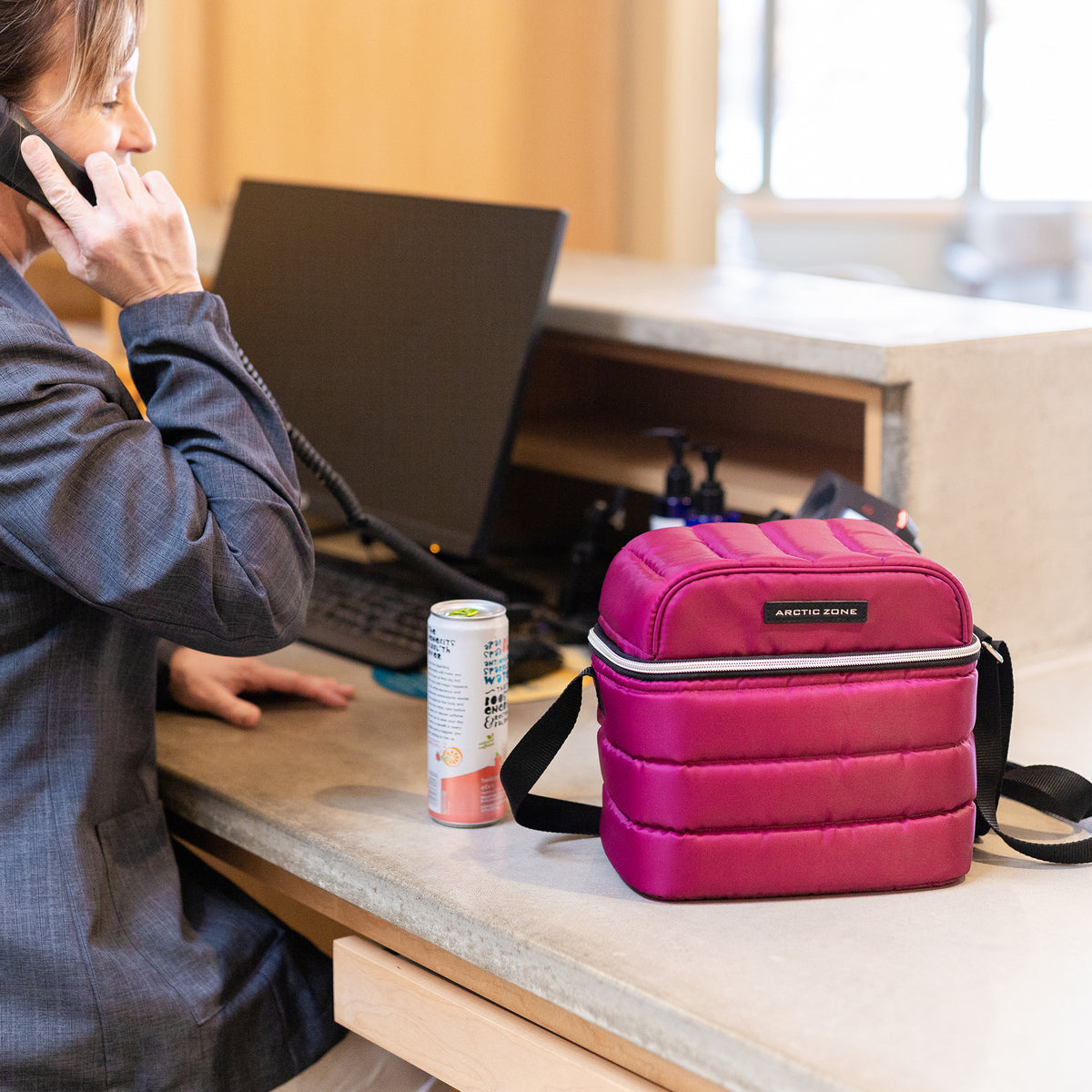 Arctic Zone® Crossbody Quilted Lunch Pack - Red Violet - Lifestyle, bringing lunch to work