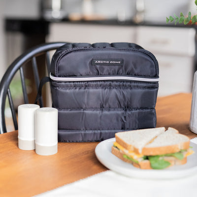 Arctic Zone® Crossbody Quilted Lunch Pack - Black - Lifestyle, packing lunch