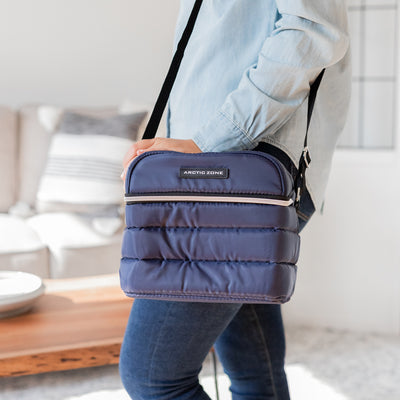 Arctic Zone® Crossbody Quilted Lunch Pack - Majolica Blue - Lifestyle, out the door with the lunch pack